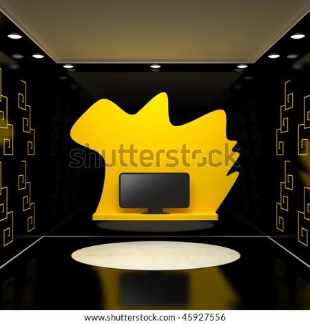 Room Television Black Walls Yellow Signs Stock Illustration 45927556 ...