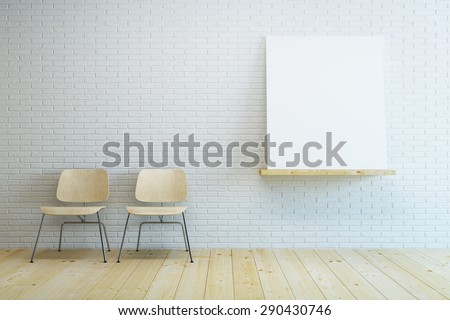 room with two modern chair and blank picture. 3D rendering - stock photo
