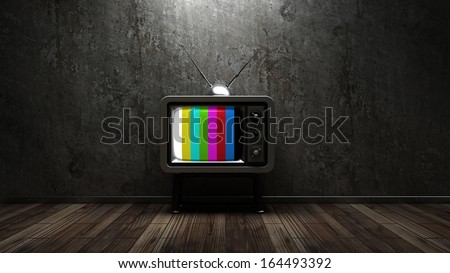 room with vintage TV. interior background. High resolution 3d render  - stock photo
