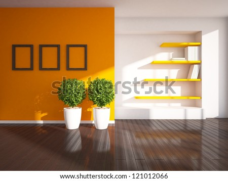 room with wooden floor - stock photo