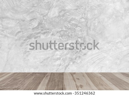 Room, wood floors and white modern concrete wall texture background. For product display and advertising and promotional purposes.
