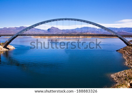 Roosevelt Lake Bridge near the dam which holds the water in the lake