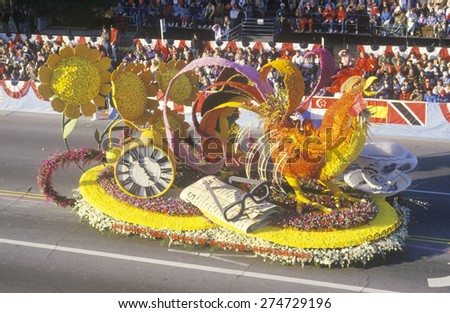 Rooster Float in Rose Bowl Parade, Pasadena, California