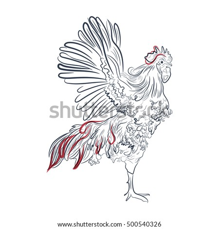 Rooster in graphic style, hand drawn illustration. Isolated chicken bird on a white background