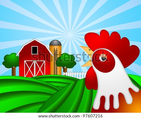 Rooster on Green Pasture with Red Barn with Grain Elevator Silo and Trees Illustration - stock photo