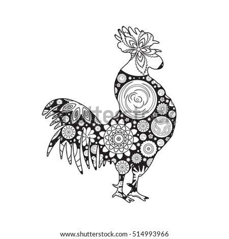 New Coloring Books For Adults : Rooster cock chicken farm bird adult stock vector 478428091