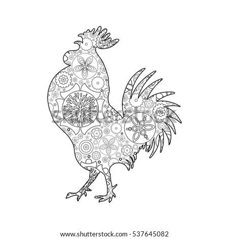 New Coloring Books For Adults : Rooster cock chicken farm bird adult stock vector 485108623