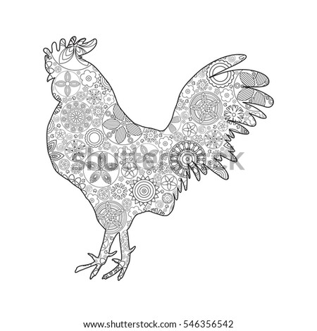 New Coloring Books For Adults : Vector cock rooster coloring page stock 472536988