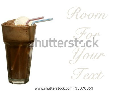 root beer float, isolated on white, room for your text - stock photo