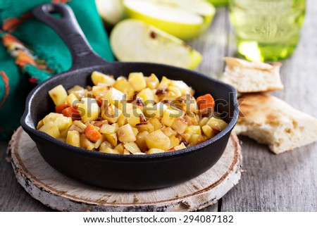 Apple and root vegetable hash with potato, carrots and celery root ...