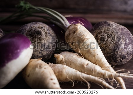 root vegetables from the garden on a brown background - stock photo
