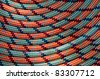 rope abstract background in orange blue and black with round shapes - stock photo