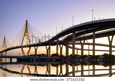Rope bridge , beautiful bridge in Bangkok, Thailand. - stock photo