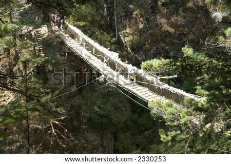 Rope Bridge on the Everest Trail - stock photo