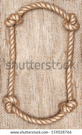 rope frame and burlap textile background