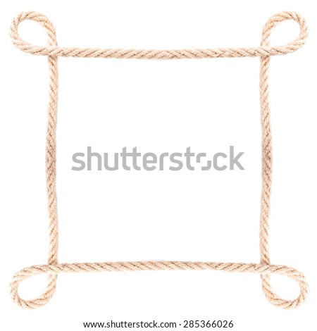 Rope frame knot Isolated on white background - stock photo