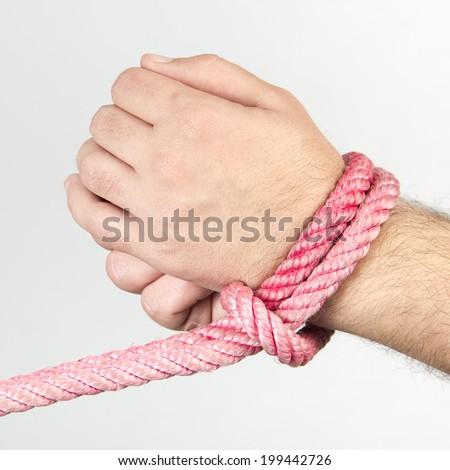 rope, hand - stock photo