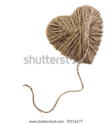 rope heart isolated on white background - stock photo