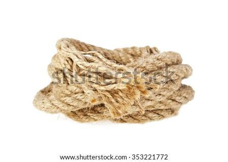 Rope isolated on white background - stock photo