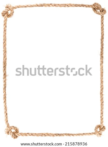 rope knot frame isolated on white background - stock photo