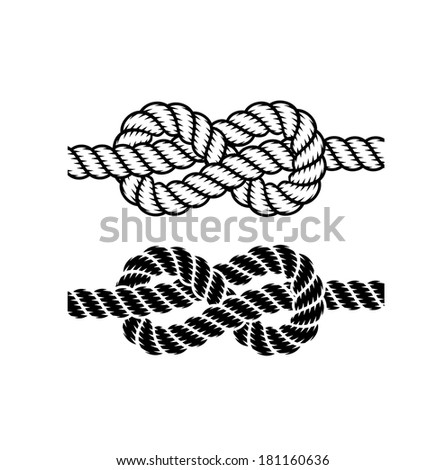 rope knot on a white background - stock photo