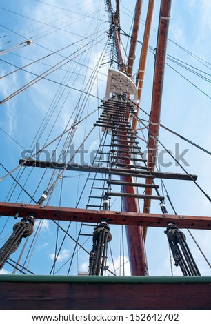 rope ladder to the main mast of the ship on blue sky background