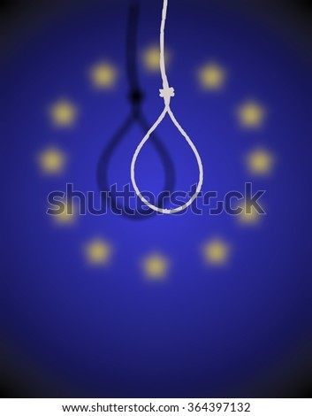 Rope loop for hanging on the background of the EU flag. The symbol of depression and problems in the political, economic and cultural sphere. - stock photo