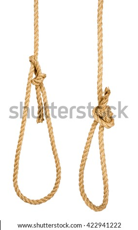 Rope loop isolated on white background, closeup - stock photo
