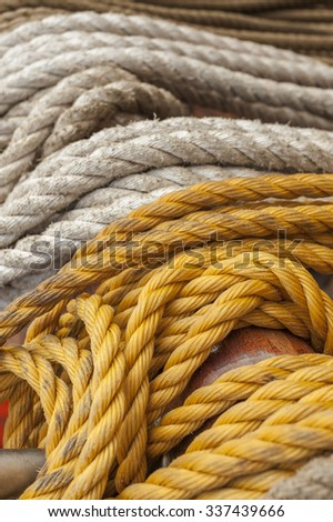Rope on boat's deck - stock photo