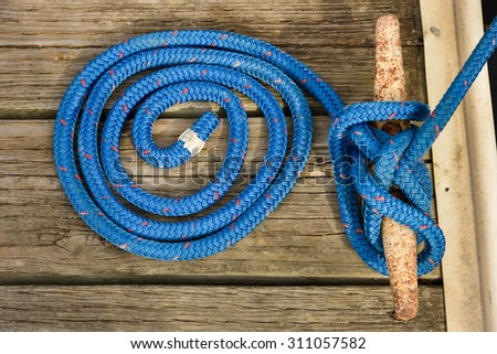 Rope on Cleat - stock photo
