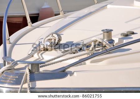 Rope on deck of the yacht
