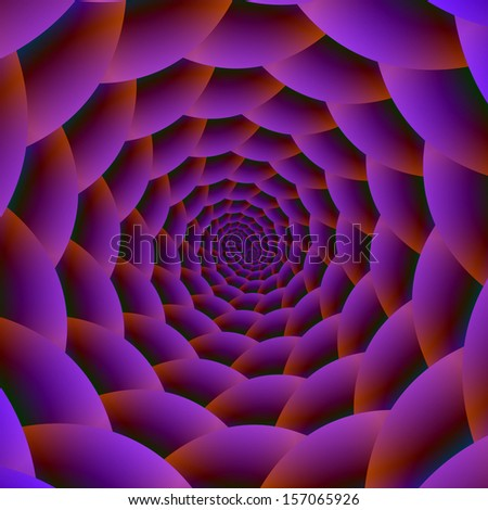 Rope Spiral in Purple Red and Green / Digital abstract fractal image with a rope spiral design in purple, red, green and blue. - stock photo