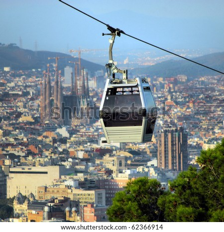 rope-way and cathedral Sagrada Familia in barcelona, spain