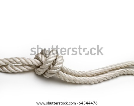 Rope with a knot on white background