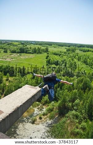 Ropejumping/basejumping series - stock photo
