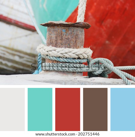 Ropes on a sailing ship.  color palette swatches - stock photo