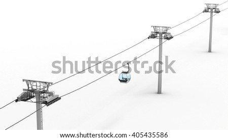 Ropeway and lift isolated on white background. Top view. 3d rendering. - stock photo