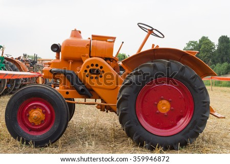 ROSA,ITALY - JULY 05, 2015: Close up of old tractors during a demonstration of old agricultural vehicles