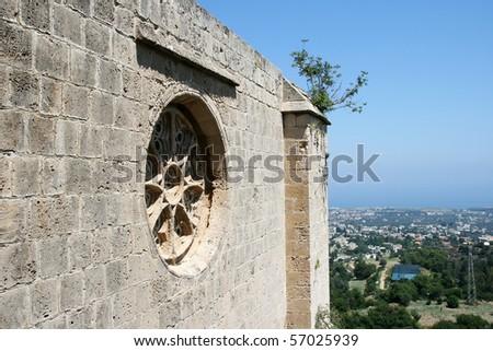 Rosace - Bellapais Abbey, Cyprus - stock photo