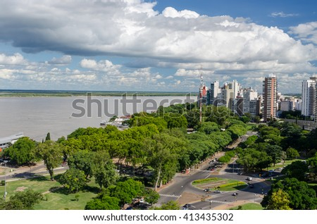 ROSARIO, ARGENTINA - JANUARY 08, 2015: City view from the top of the National Flag Memorial.