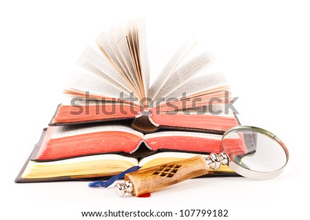 rosary and  holy books - stock photo