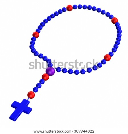 Rosary, isolated on white background. 3D render. - stock photo