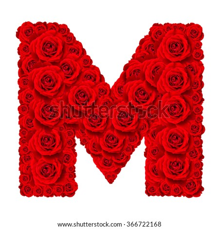 Rose alphabet set alphabet capital letter stock photo edit now rose alphabet set alphabet capital letter m made from red rose blossoms isolated on white thecheapjerseys Gallery