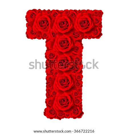 Rose alphabet set - Alphabet capital letter T made from red rose blossoms isolated on white background - stock photo