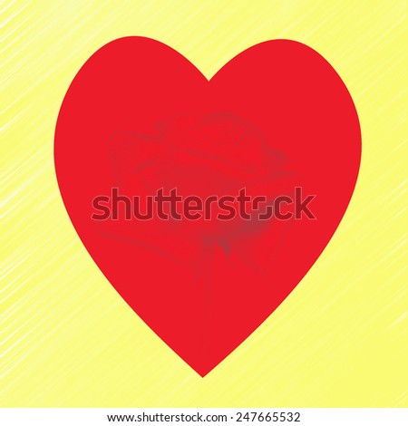 rose and heart with a yellow background - stock photo