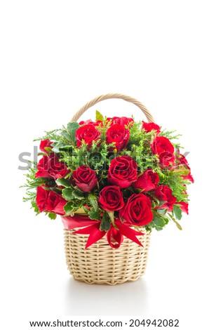 Rose basket isolated on white - stock photo