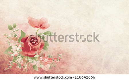 Rose bouquet illustration on pastel background with copy space