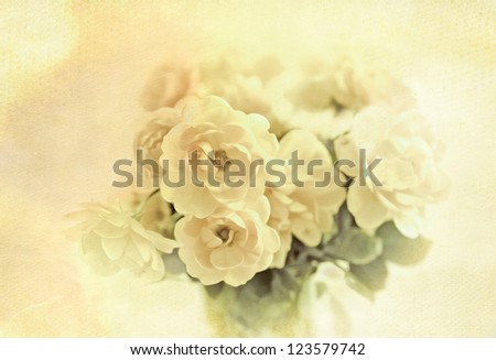 Rose bouquet on old paper background,vintage style