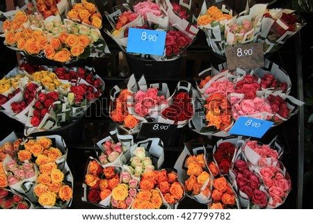 Rose bouquets in various colors at the flower market in Aix en Provence - stock photo