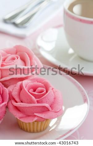 Rose cupcakes - stock photo